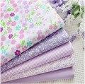 Lo nuevo 5 UNIDS 40*50 cm Púrpura Colcha de Retazos de Tela de Algodón de Impresión Telas Quarter Bundle DIY Muñeca de Costura Bebé ropa de Cama textil Tecido