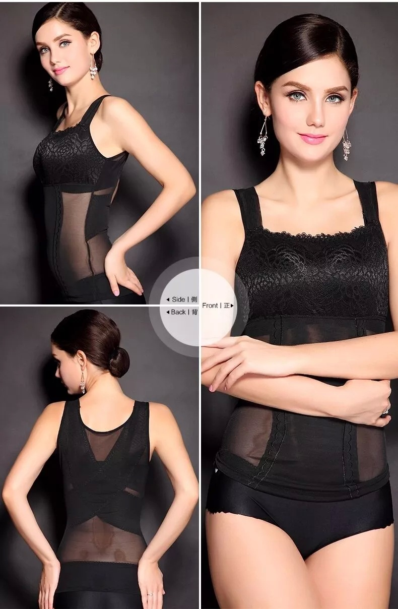 New Womens Shapewear Shaper Camisole Tank Tops Slimming Compression Vest Lace Swimming Underwear Dilated Shoulder Straps L-XXL 6