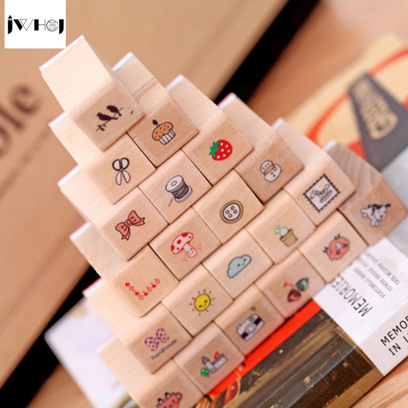 JWHCJ (21PCS/set) Mini diary stamp wooden rubber stamp wooden gift box sets Kids DIY Scrapbook Photo Album, Arts Crafts gifts