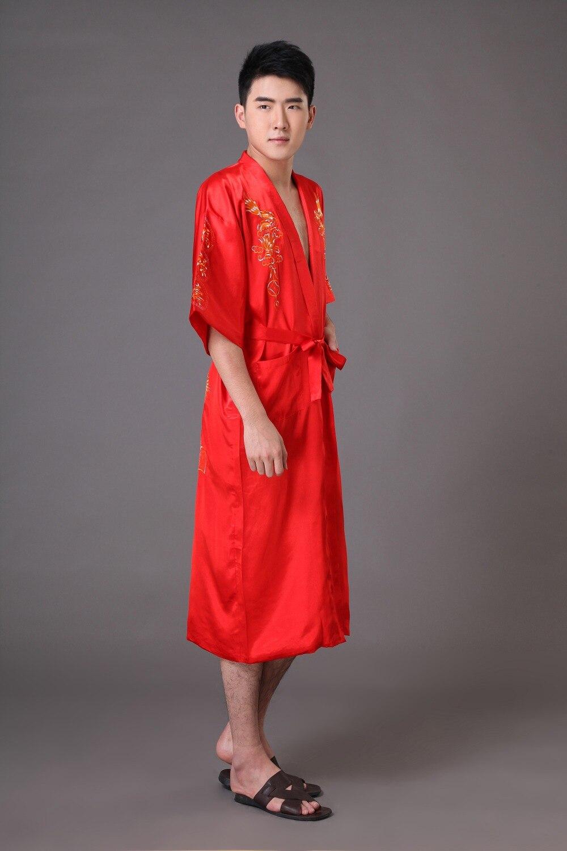 fdcdd690941 Plus Size XXXL Red Men Dragon Robe Chinese Male Silk Satin Nightwear  Bathrobe Traditional Embroidery Kimono Yukata Gown MR007-in Robes from  Underwear ...