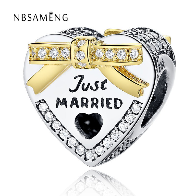 Authentic 925 Sterling Silver Bound By Love Golden Crystal Bow Heart Just Married Charm Beads Fit Original Pandora Bracelet Diy