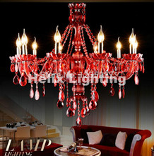 Free Shipping Factory Direct Selling RED crystal chandelier traditional glass arm 8L/8+4L/12+6L Crystal Chandelier Home Light