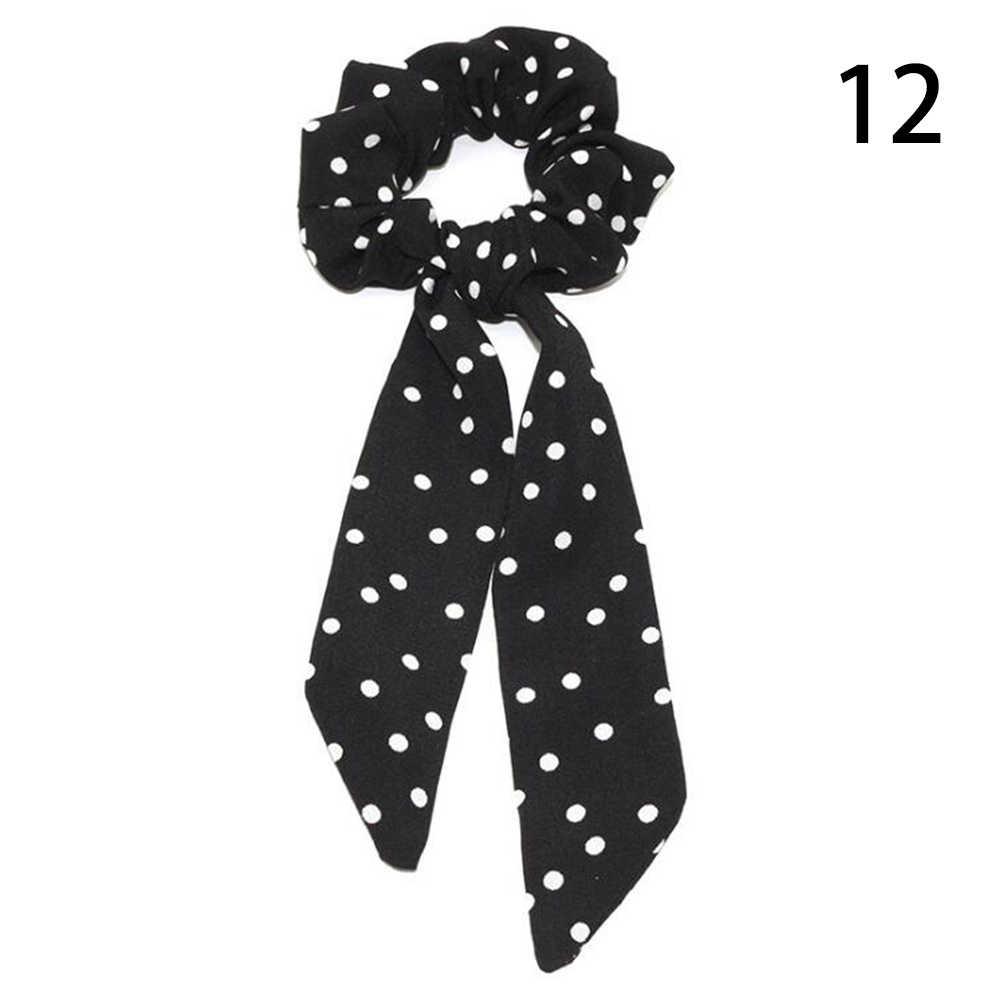 2019 โบฮีเมียน Polka Dot ดอกไม้พิมพ์ริบบิ้นโบว์ผม Scrunchies ผู้หญิงผมวงยืดหยุ่นผมหางม้าผ้าพันคอผมอุปกรณ์เสริม