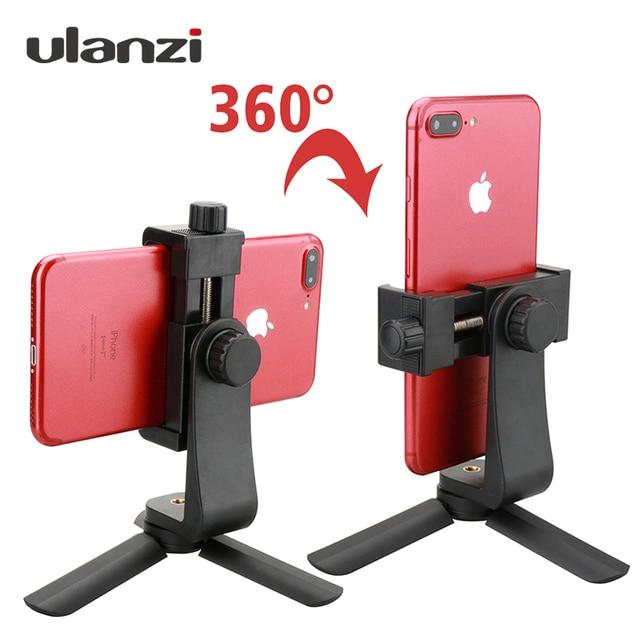 Ulanzi Phone Tripod + Vertical Bracket Smartphone Mount Holder Cold Shoe Phone Clip Clipper Tripod Adapter for iPhone Samsung
