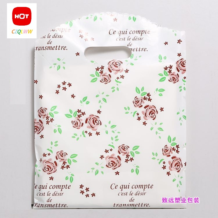 50pcs 25*35 Red rose Red Gift Bag Plastic Shopping Bags Jewelry Boutique Gift Clothing Packaging Plastic Bags