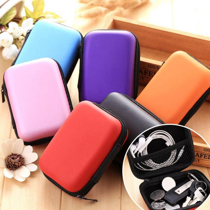 6 Colors Zipper Protective Headphone Case Pouch Earphone Storage Bag Soft Headset Earbuds box USB Cable Organizer Handbag