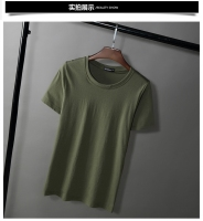 Summer men's short sleeved T shirt round collar with pure color bottom shirt han version of the loose half sleeve top cotton men