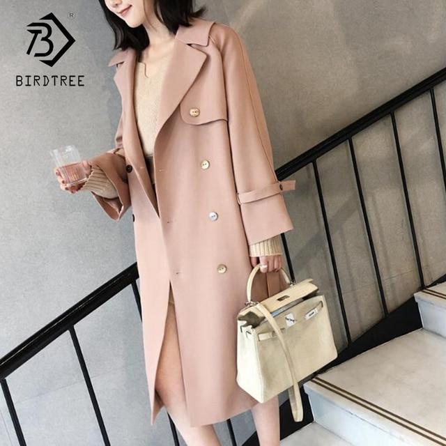 Мода 2018 Новая осень Для женщин Trech Мода отложной воротник длинный рукав Повседневное, элегантность Теплый розовый верхняя одежда C87238L