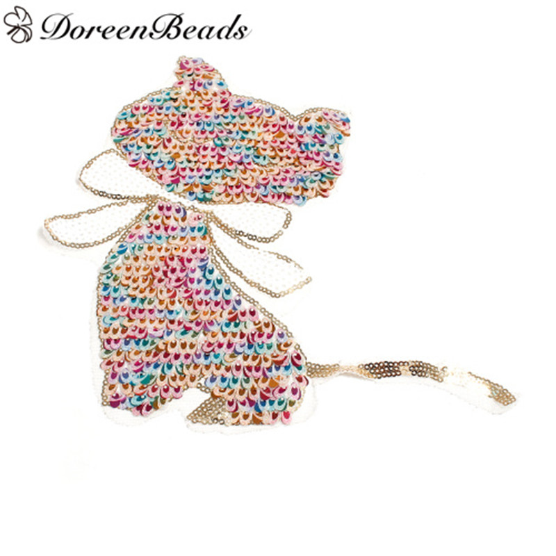 DoreenBeads Fabric DIY Patches Garment Clothes Cat Animal Butterfly Insect Multicolor Applique Patches For Women Cloth, 1 PC