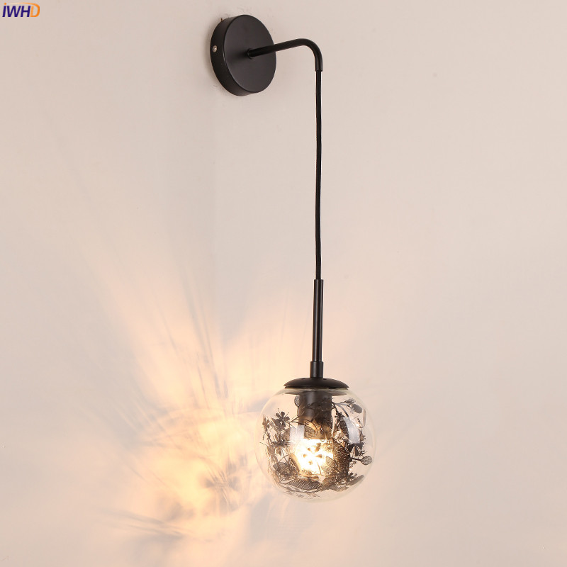 IWHD Nordic Style Modern Wall Lamp Bedroom Mirror Stair Beside Glass Ball Wall Light LED Sconce Wandlamp Lamparas De Pared