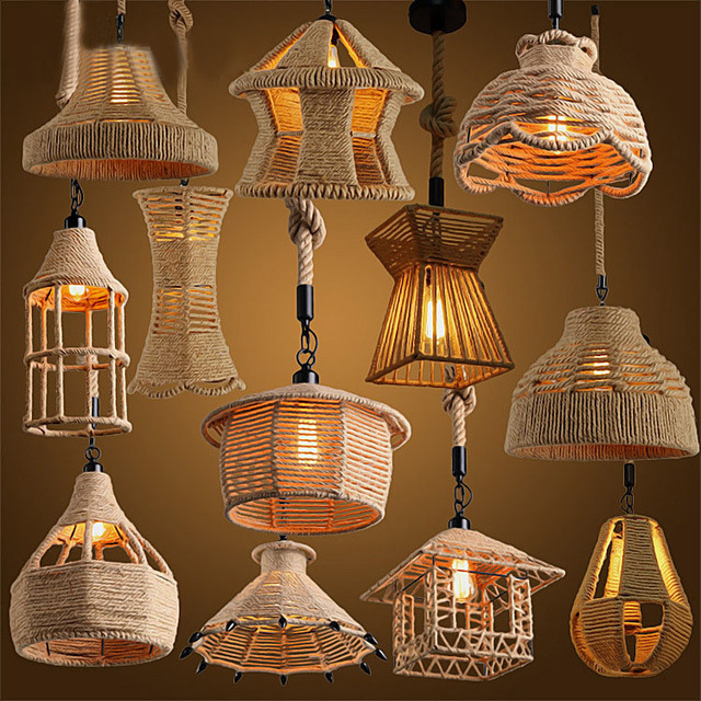 Retro loft Vintage Hemp Rope Pendant Light DIY Pendant Lamp E27 Industrial  Edison Bulb Hanging Lamp