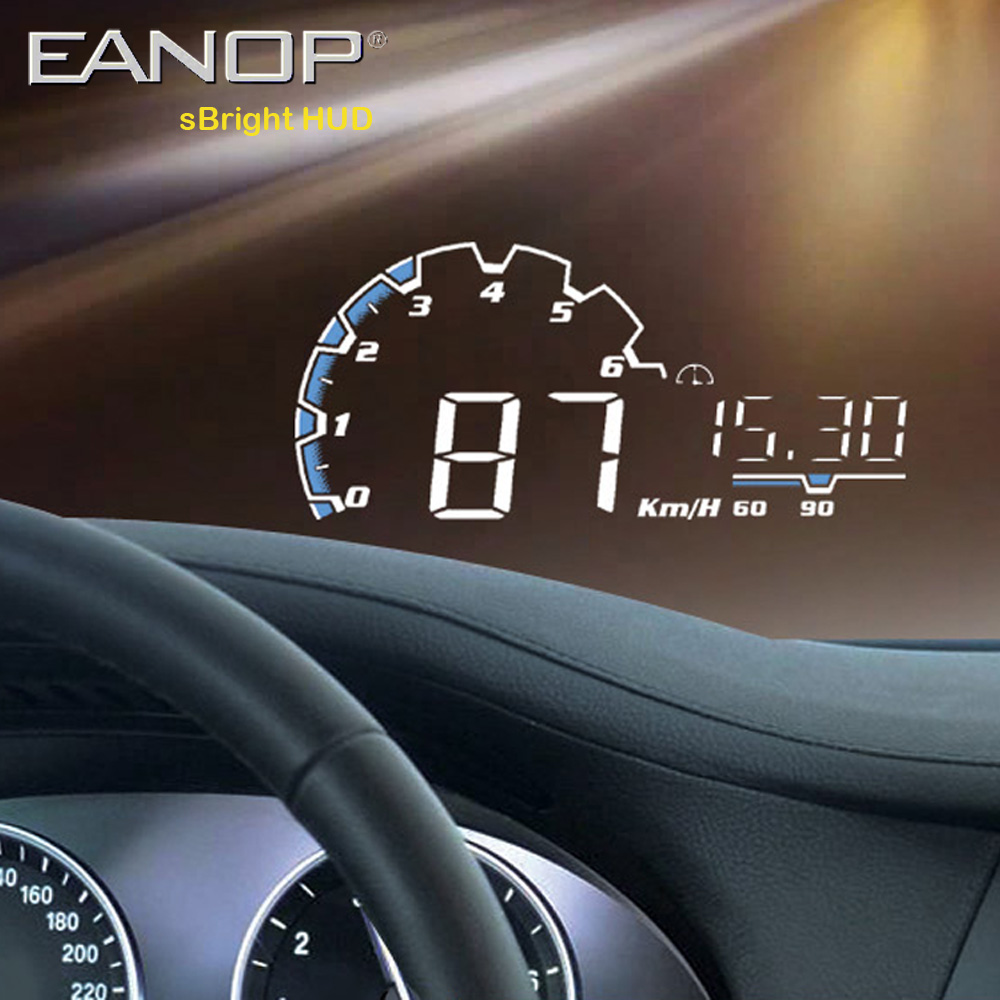 EANOP sBright Car HUD Head up display 5.5 inch obd2 Car Dashboard Speedometer hud film Over Speed Alarm & Car Detector