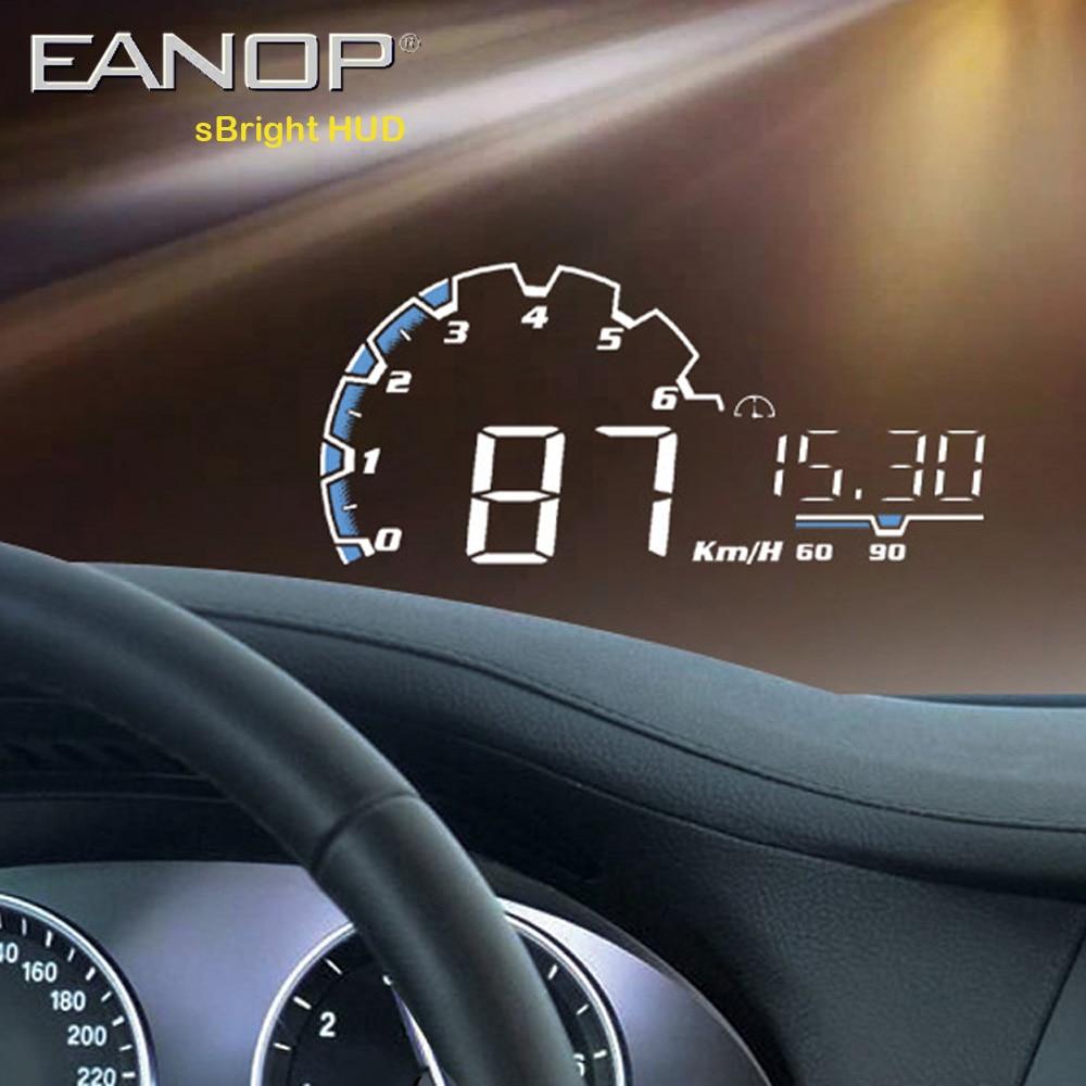 Eanop sbright 3.0 カー hud ヘッドアップディスプレイ obd ii euobd コンピュータースピードメーター hud フィルムカーエレクトロニクス速度超過電圧アラーム