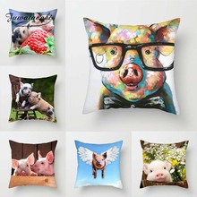 Fuwatacchi Cute Pig Painted Cushion Cover Painting Animal Throw Pillows Case Sofa Bed Home Decorative Pillowcase 45cm*45cm