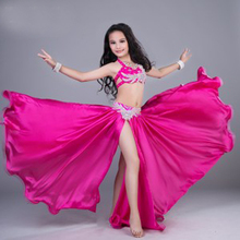 New 2018 Luxury hand-made sewed Oriental Dance Costume Sexy 2pieces Bra+Skirt Belly Dancing Costumes Suits Pink/Yellow color