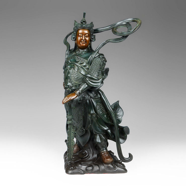 16China FengShui Warrior SKANDA Wei tuo Door God Buddha Guardian Bronze Statue QQ @@ EW