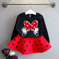 2016 autumn and winter fashion girls clothing set baby kids mouse cotton sweater with heart skirt casual children clothes