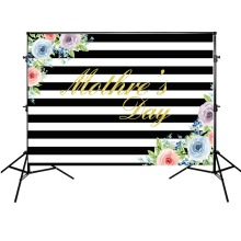Mothers Day Background Black and White Striped Backdrop Colorful Flowers Photographic for Photo Studio Props
