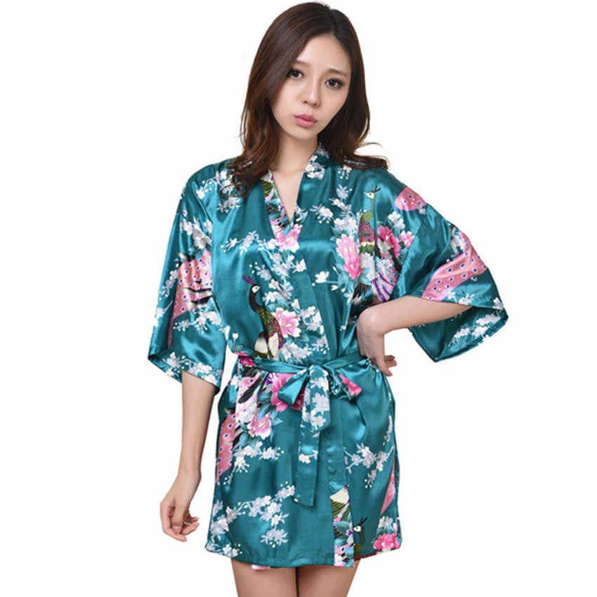 598a1bc40f Drak Green Female Printed Floral Kimono Dress Gown Chinese Style Rayon Robe  Nightgown Flower S M L XL