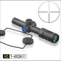 ENTDECKUNG tactical Jagd Zielfernrohr HD 1-4X24 IR Lang augen relief Beleuchtet R & G Teleskop Anblick Umfang fit 30- 06 308 AR15 M4