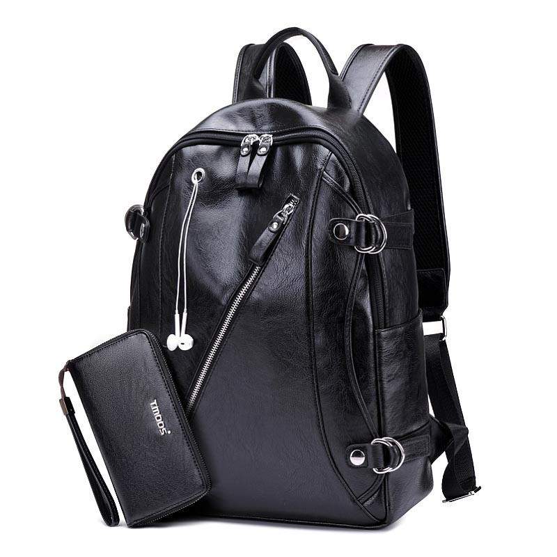 Men's Backpack PU Leather Backpack School Bag Laptop Backpack For Teenagers Designer Brand Large Capacity Bags Casual Backpacks men backpack student school bag for teenager boys large capacity trip backpacks laptop backpack for 15 inches mochila masculina
