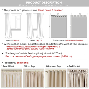 Image 5 - Linen 100% Blackout Curtains For Kitchen Bedroom Window Treatment  Solid Water Proof Curtains for Living Room Custom Made