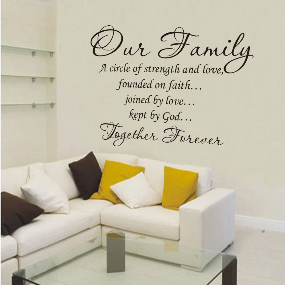 Motivational Inspirational Quotes: Our Family Together Forever Vinyl Lettering Wall Art Words