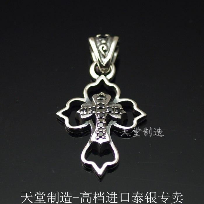 L'importation d'argent 925 en argent Sterling avec un beau travail noir de pendentif croix qui se chevauchent