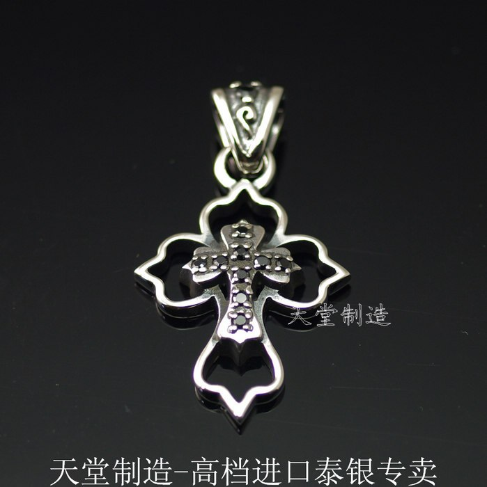 The import of silver 925 Sterling Silver with black  fine workmanship of overlapping Cross PendantThe import of silver 925 Sterling Silver with black  fine workmanship of overlapping Cross Pendant