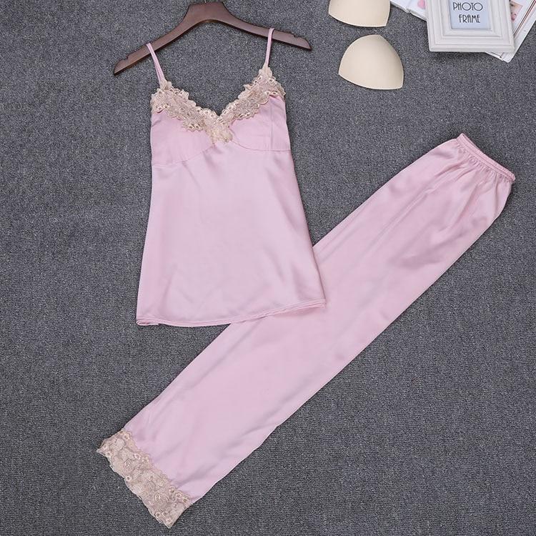 Sexy Woman Strap Top Pants   Pajamas     Sets   Sleepwear Lady Home Wear Two piec Nightgown Suit Sleep Robe Bath Gown Sleepshirts M-XL