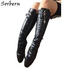 Sorbern Sexy Fetish Hoge Hakken Ballet Hakken Wees Knie Boot Voor Vrouwen Afsluitbare Zip Hangslot Black Matte Multi Kleur Ballet boot