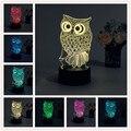 OWL Night 3D Luz RGB Cambiable Mood Lámpara de Luz LED dc 5 v usb lámpara de mesa decorativa consigue un free remote control