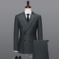 100% шерсть двубортный серый в полоску повседневные мужские костюмы с брюками свадебные костюмы для мужчин одежда жениха стройная фигура Бол