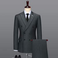 100% wool double breasted grey striped casual mens suits with pants wedding suits for men groom wear slim fit plus size 58