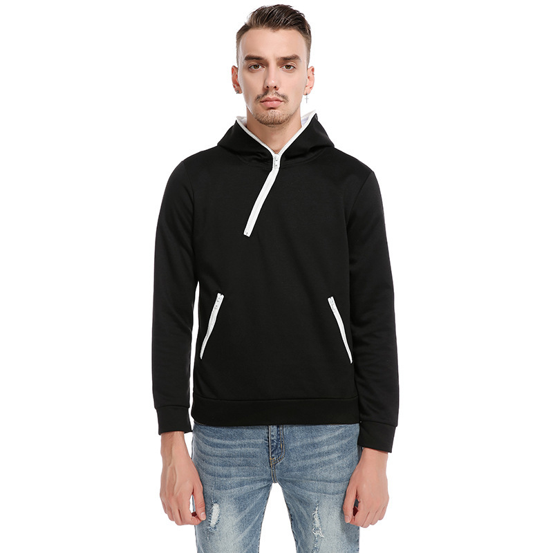 ief.G.S Mens Hooded Hoodie Fall 2017 New Zipper Design European Style Leisure Set Head Hoodie Hoody