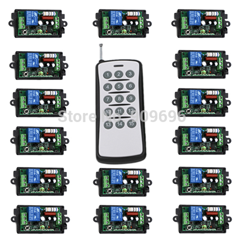 220V 110V 1CH RF Wireless Controller Remote Control Switch Learning Code light lamp  ON OFF  15 x Receiver Output Adjusted remote control switch led light lamp remote on off system ac85v ac260v 100v 110v 240v 230v 127v learning code receiver 315 433