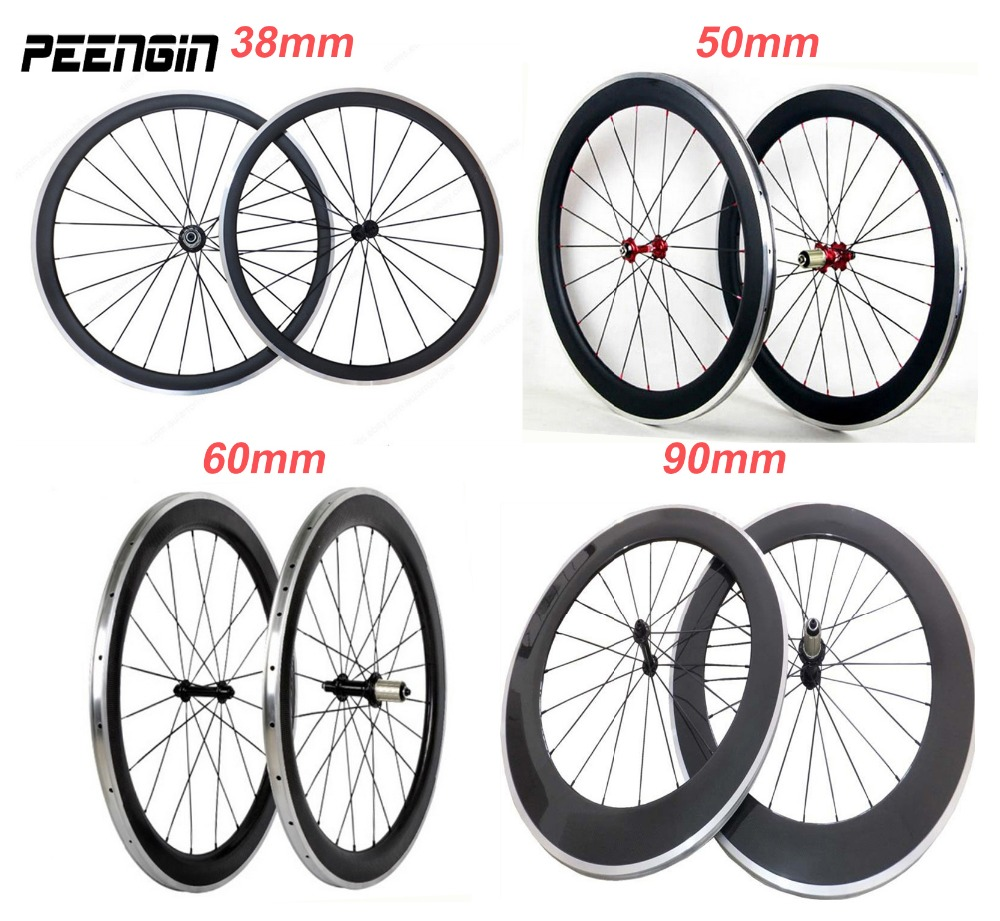 Hot 700C oem carbon alloy wheels 700c clincher 38 50 60 90mm with aluminum brake suface Novatec/powerway hub carbon alu wheelset velosa 700c track 60mm clincher carbon wheels fixed gear single speed carbon wheelset with novatec 165 166 hub freeshipping