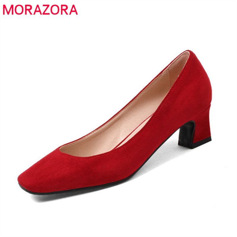 MORAZORA 2018 new women pumps hot sale fashion square toe shallow classic flock simple sweet Pink red 33-44 high heels shoes цена