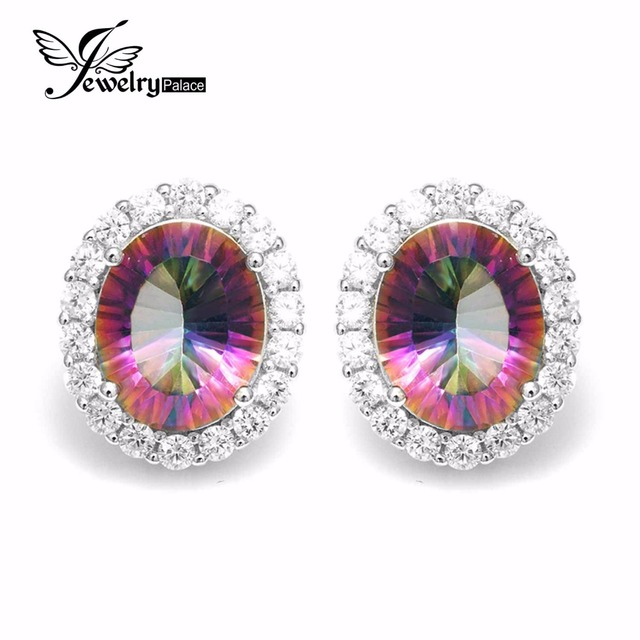 6 6ct Oval Natural Rainbow Fire Mystic Topaz Earrings Stud Genuine Pure 925 Sterling Silver For