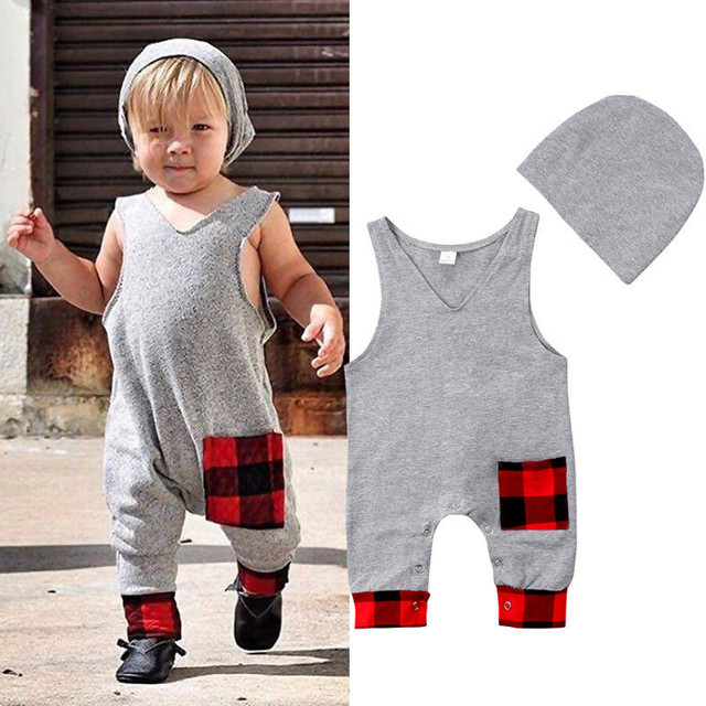 Trendy Toddler Baby Boys Girls Clothes V-neck sleeveless pocket plaid  Romper solid Hat 2pc cotton casual kids newborn Outfits 27b8deeee
