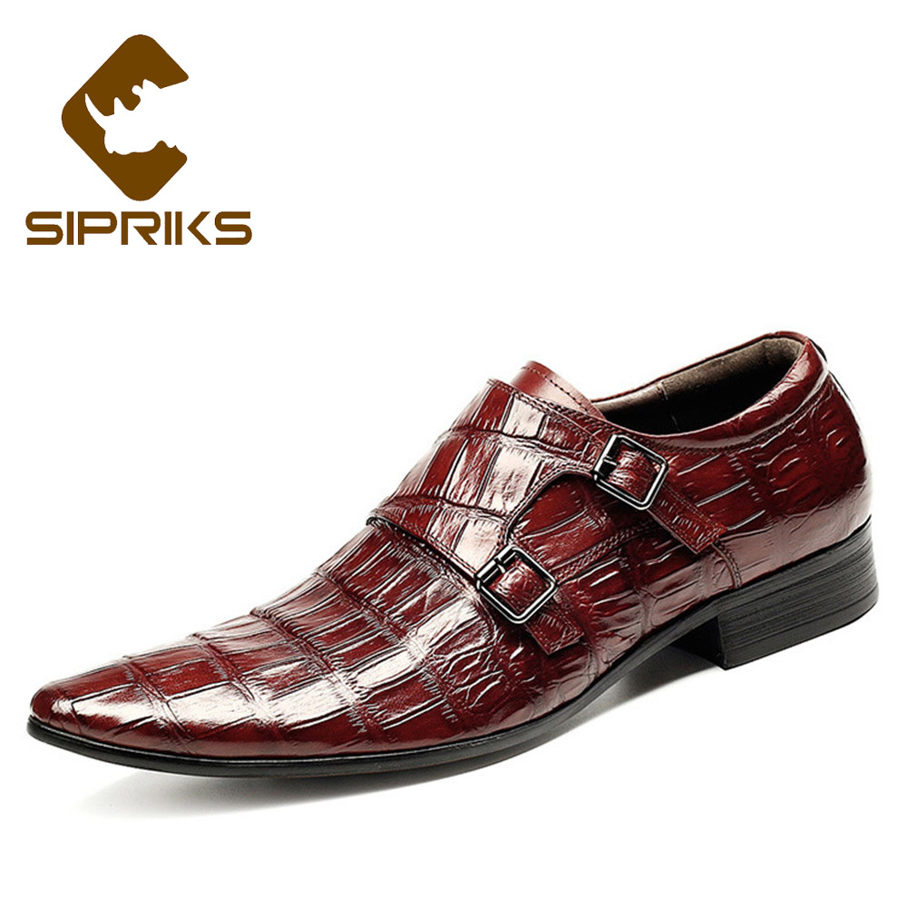 Sipriks Lucury Grooms Wedding Shoes Double Monk Straps Wine Red Alligator Skin Dress Shoes With Buckles Black Formal Tuxedo Shoe We Have Won Praise From Customers Formal Shoes