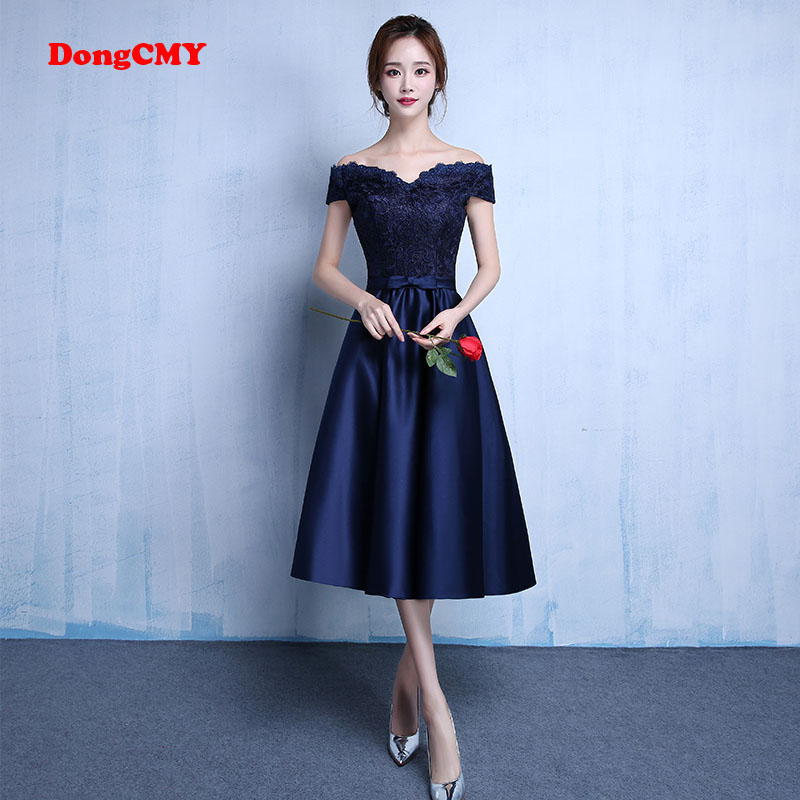 <font><b>Prom</b></font> <font><b>Dresses</b></font> Vestido DongCMY New Fashion Party 2020 Navy Blue Boat Neck Simple A-line Draped Jersey image