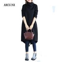 ARCSINX Artı Boyutu kadın Elbise XXL XL Gevşek Kış Elbise Kadınlar Boy Polar Kazak Elbiseler Büyük Boyutlarda Balıkçı Elbise