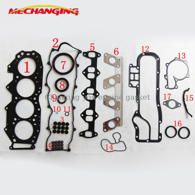 <font><b>WL</b></font> WL84 WLE7 <font><b>WL</b></font>-T For FORD RANGER (ER, EQ) ENDEAVOUR EVEREST 2.5 OR MAZDA B-SERIE Full Set <font><b>Engine</b></font> Gasket seal Gasket 8ASX-10-271 image