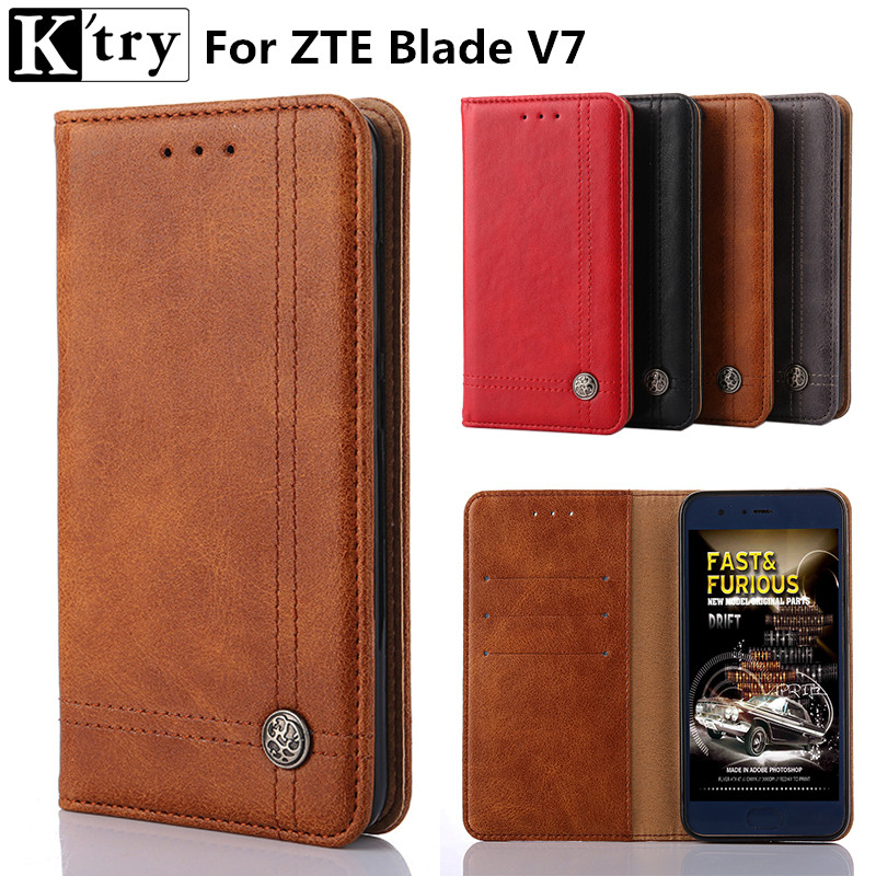 Ktry For ZTE Blade V7 Case 5.2Luxury Wallet PU Leather Case Fashion Flip Card Hold Phone Cover Bags For ZTE V7
