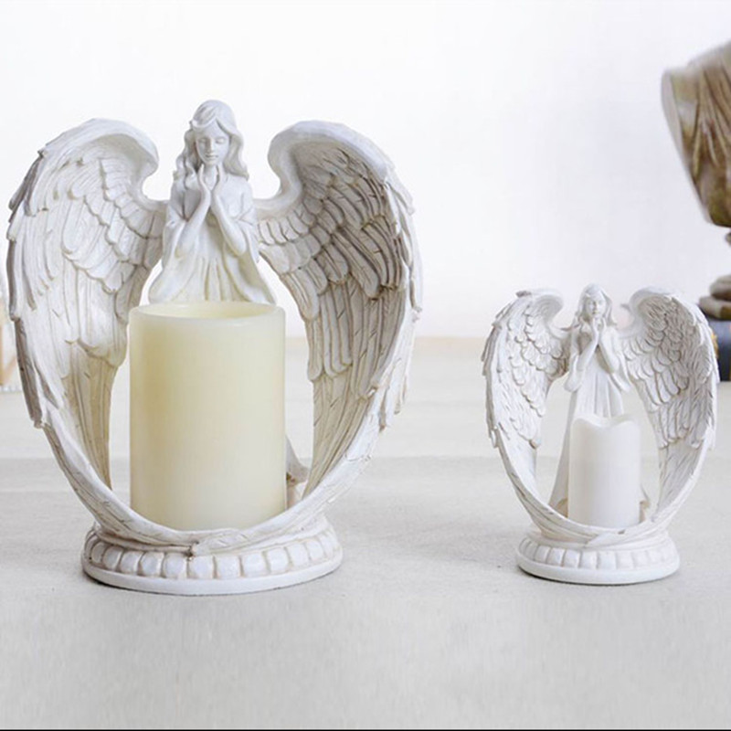 Electronic Candlestick Statue Angel Miniature Candle Holder Figurine Art Sculpture Resin Art&Craft Home Decoration R159