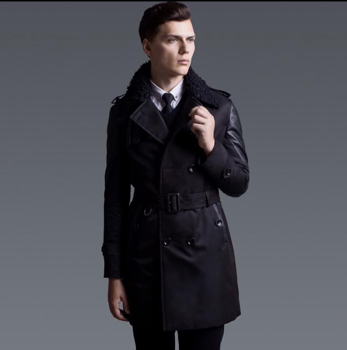 Winter autumn 2018 new designer thicken trench coat men warm overcoat long sleeve mens clothing business outerwear splice black