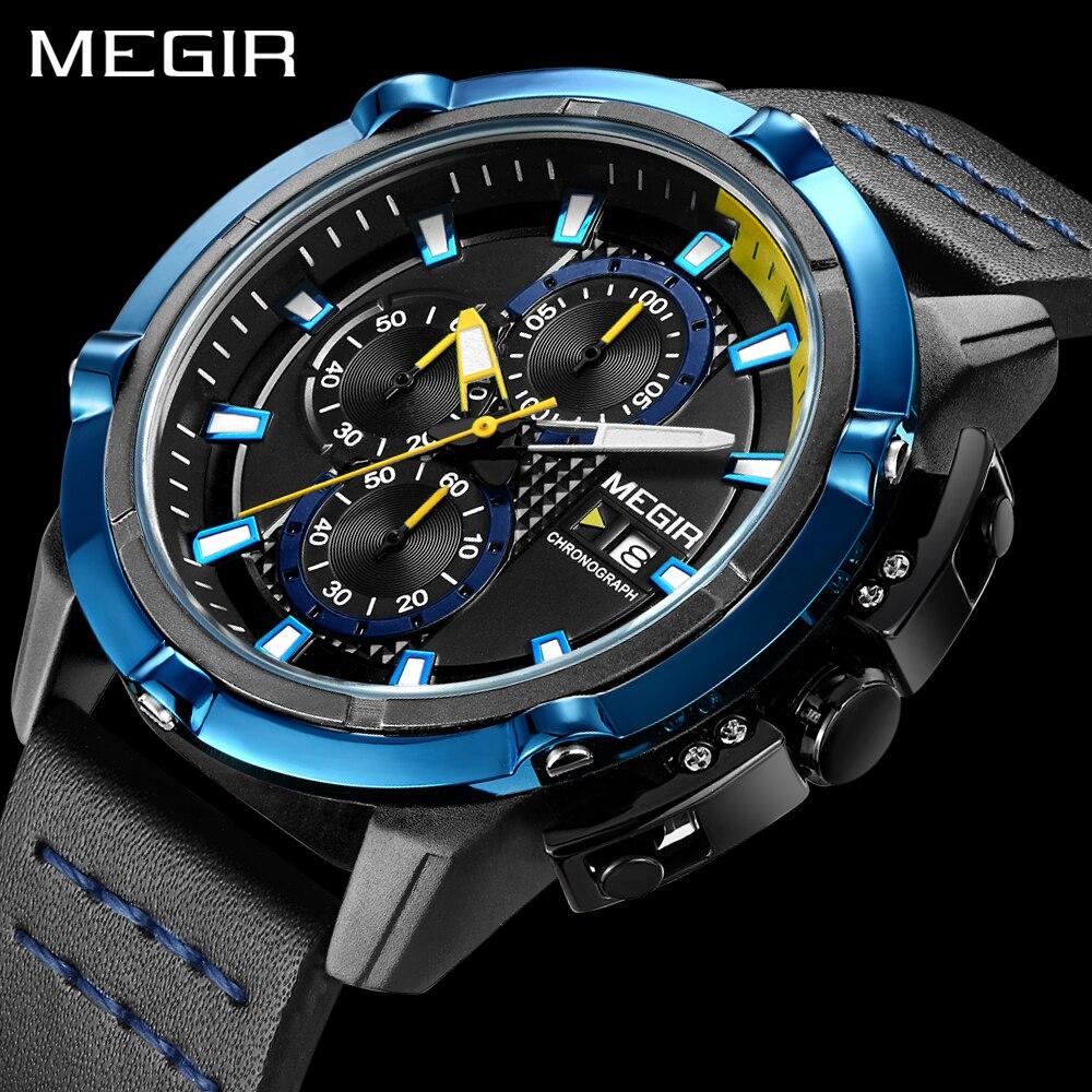 MEGIR Sport Mens Watches Luxury Brand Quartz Watch For Men Leather Band Strap Chrongraph Fashion Wristwatches relogio masculino цена