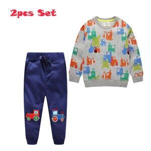 Image 3 - กระโดดเมตร Applique เสื้อผ้าเด็กชุดกางเกงขายาว + เสื้อผ้าฝ้ายรถยนต์ 2 ชิ้นชุดสำหรับฤดูใบไม้ร่วงฤดูหนาวชายชุดสูท