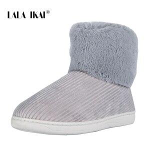 Image 3 - LALA IKAI Frauen Winter Schnee Stiefel Freien pelz Halten Warme Schuhe Weibliche Flock Slip auf Woolen Stiefel Feste Beiläufige stiefel XWA5993 4